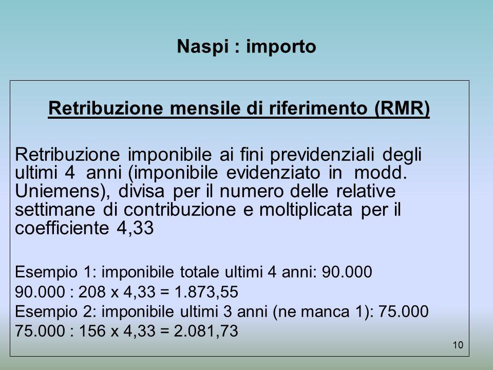 Retribuzione mensile di riferimento (RMR)