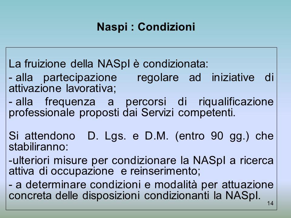 Naspi : Condizioni La fruizione della NASpI è condizionata: alla partecipazione regolare ad iniziative di attivazione lavorativa;