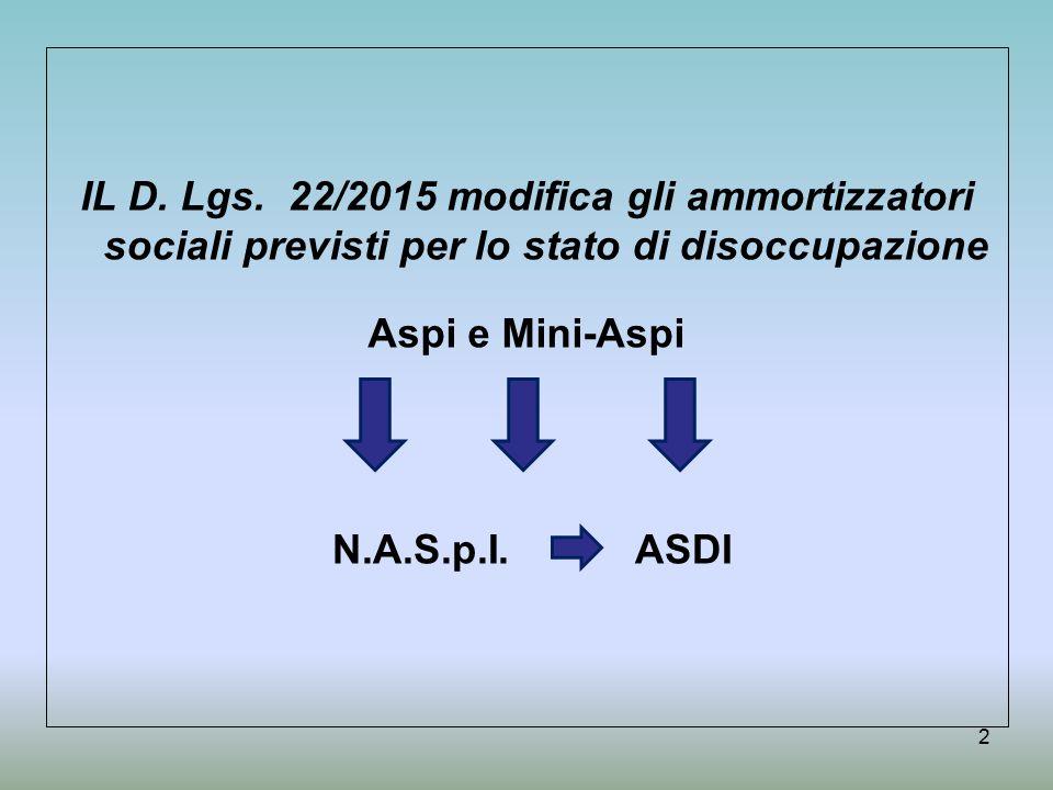 IL D. Lgs. 22/2015 modifica gli ammortizzatori sociali previsti per lo stato di disoccupazione Aspi e Mini-Aspi