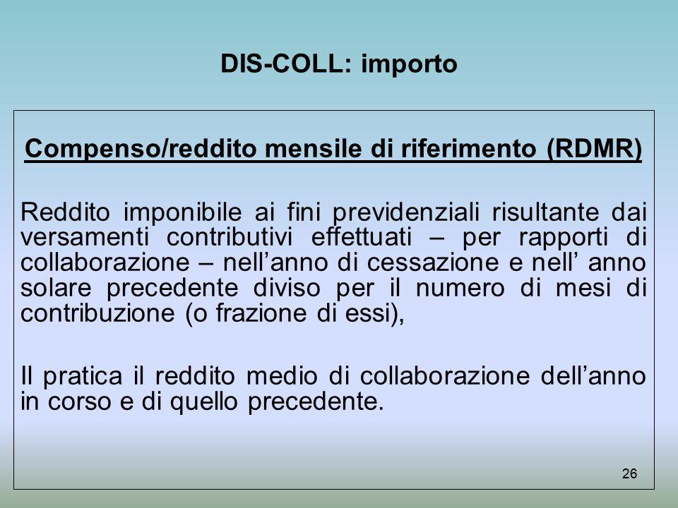 Compenso/reddito mensile di riferimento (RDMR)