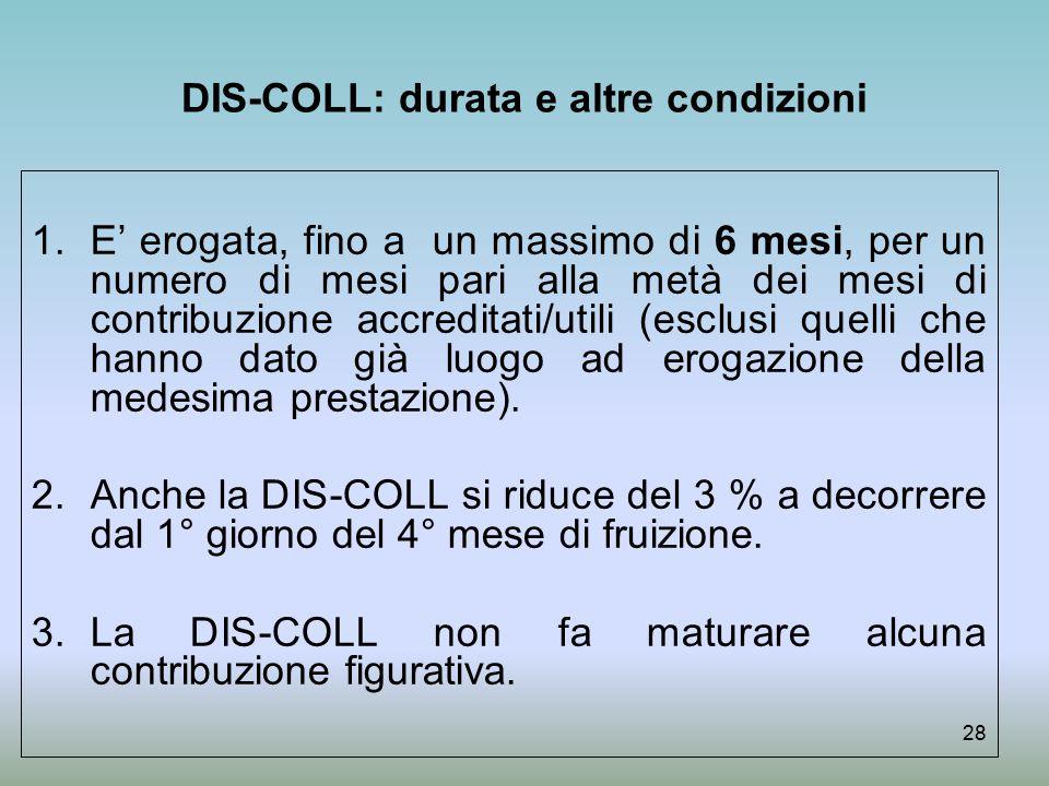 DIS-COLL: durata e altre condizioni