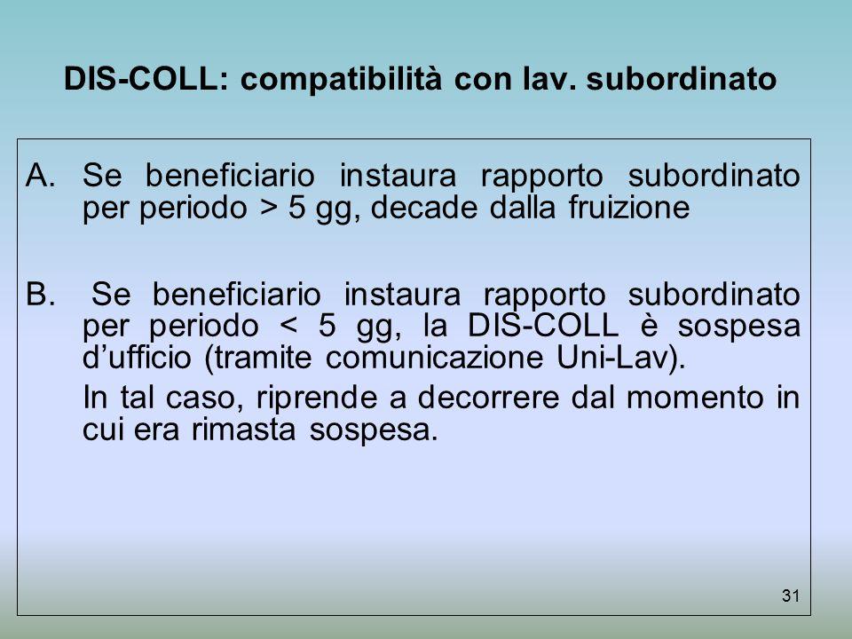 DIS-COLL: compatibilità con lav. subordinato