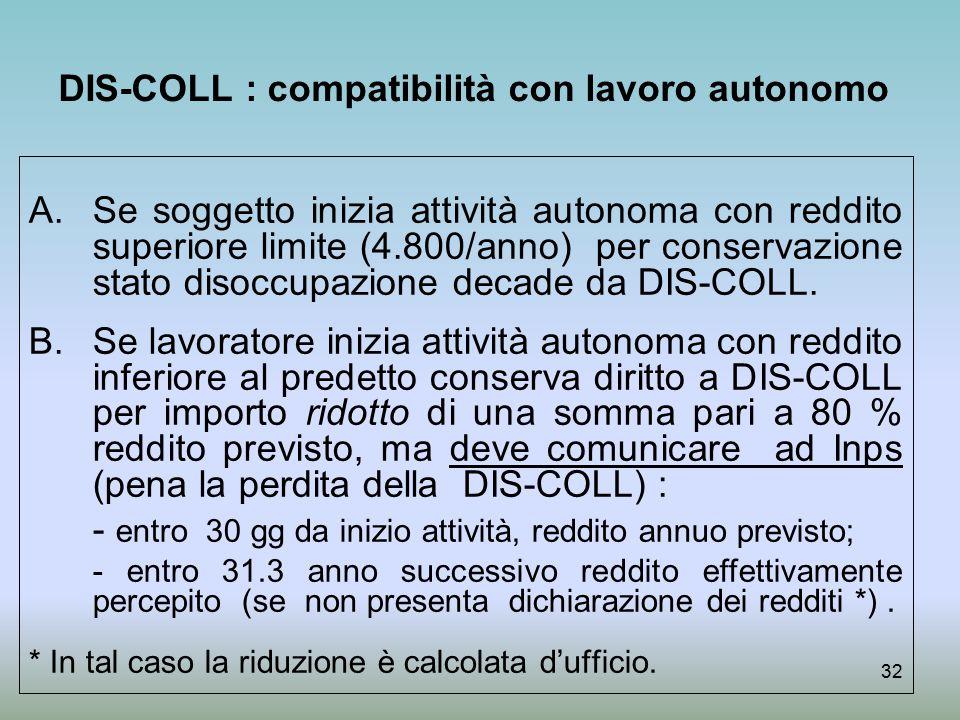 DIS-COLL : compatibilità con lavoro autonomo