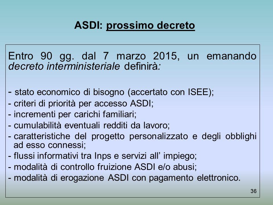 ASDI: prossimo decreto