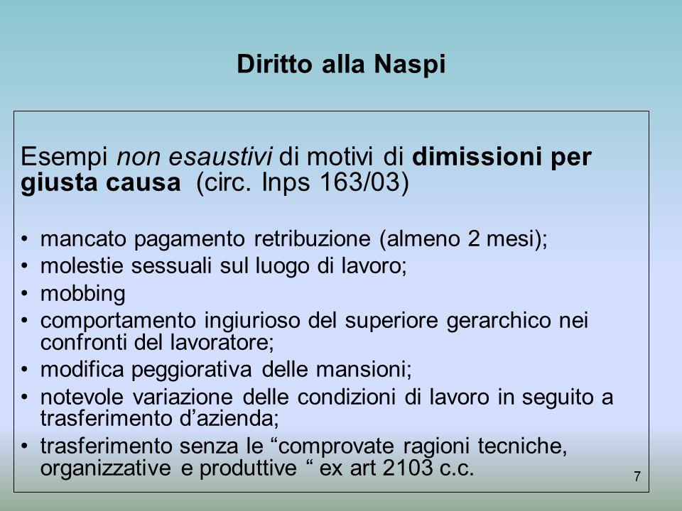 Diritto alla Naspi Esempi non esaustivi di motivi di dimissioni per giusta causa (circ. Inps 163/03)