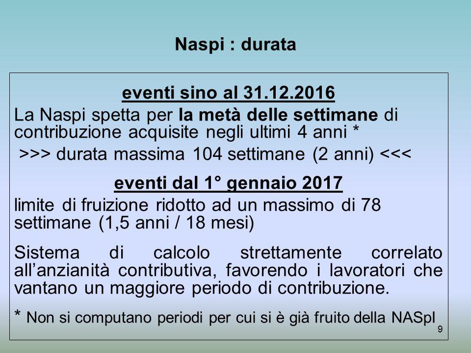 Naspi : durata eventi sino al 31.12.2016. La Naspi spetta per la metà delle settimane di contribuzione acquisite negli ultimi 4 anni *