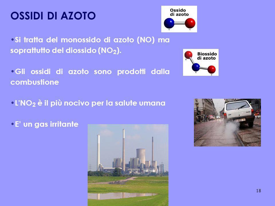 OSSIDI DI AZOTO Si tratta del monossido di azoto (NO) ma soprattutto del diossido (NO2). Gli ossidi di azoto sono prodotti dalla combustione.