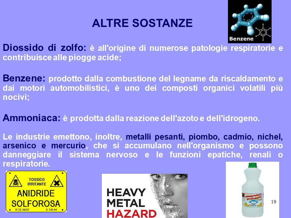 ALTRE SOSTANZE Diossido di zolfo: è all origine di numerose patologie respiratorie e contribuisce alle piogge acide;
