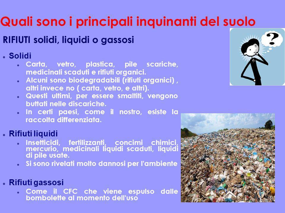 Quali sono i principali inquinanti del suolo