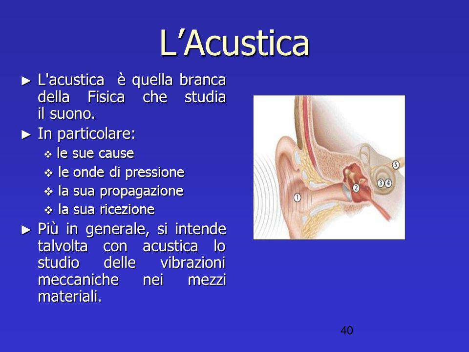 L'Acustica L acustica è quella branca della Fisica che studia il suono. In particolare: le sue cause.