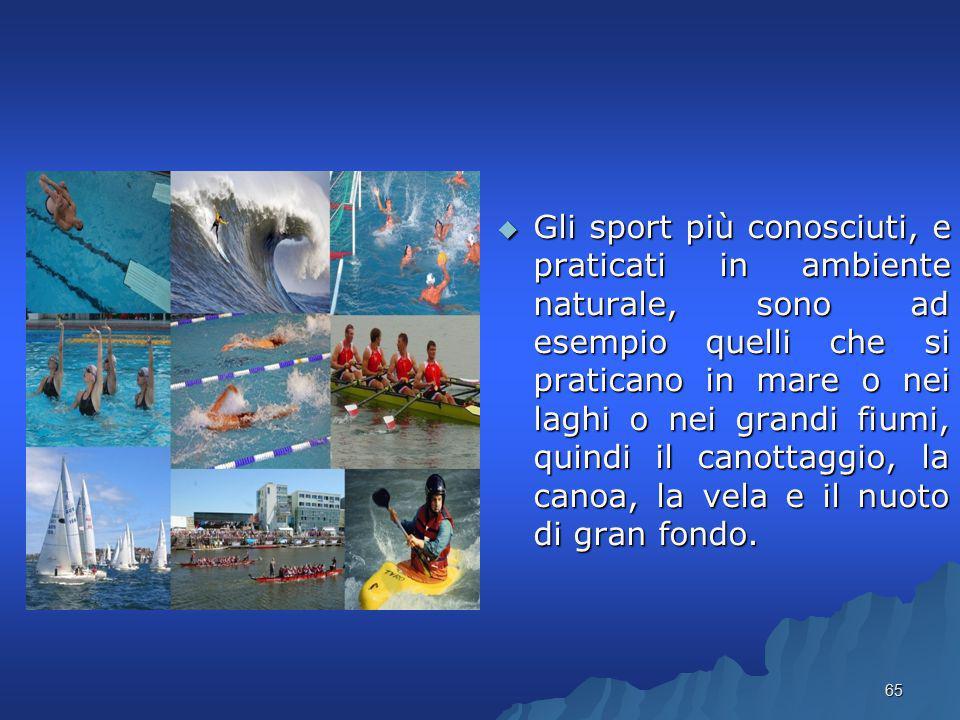 Gli sport più conosciuti, e praticati in ambiente naturale, sono ad esempio quelli che si praticano in mare o nei laghi o nei grandi fiumi, quindi il canottaggio, la canoa, la vela e il nuoto di gran fondo.