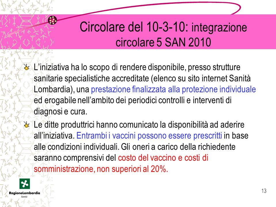 Circolare del 10-3-10: integrazione circolare 5 SAN 2010