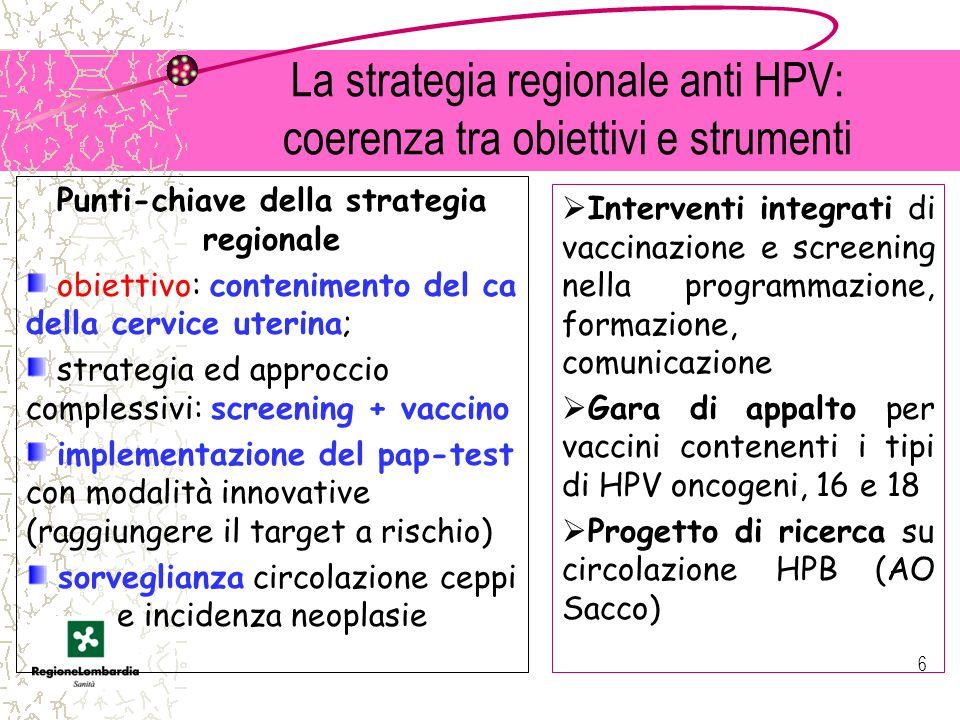 La strategia regionale anti HPV: coerenza tra obiettivi e strumenti