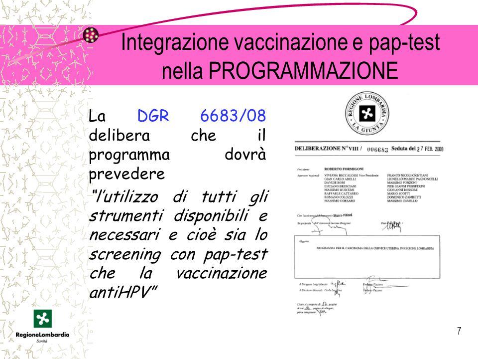 Integrazione vaccinazione e pap-test nella PROGRAMMAZIONE