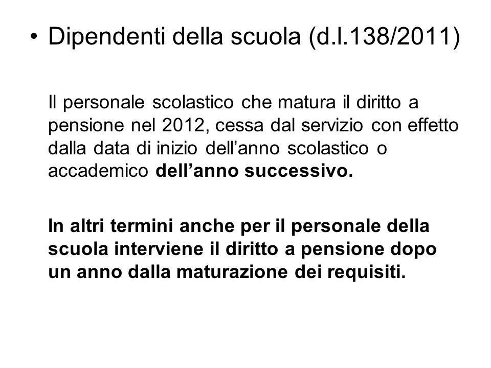 Dipendenti della scuola (d.l.138/2011)