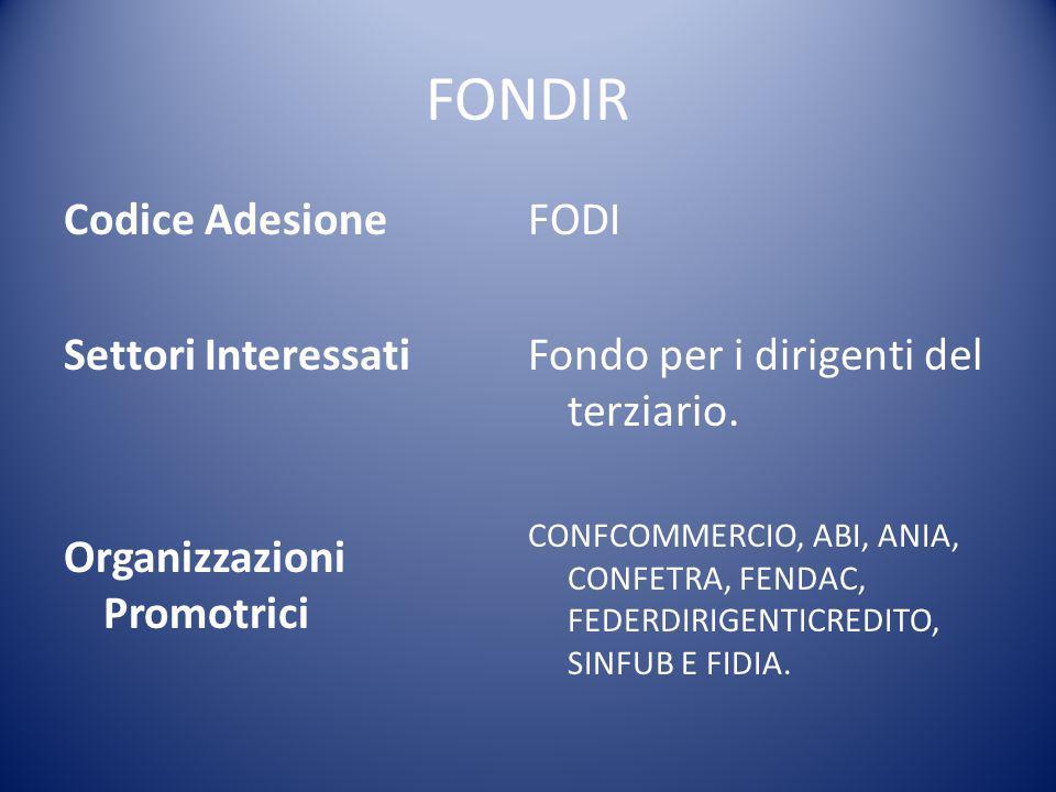 FONDIR Codice Adesione FODI Settori Interessati