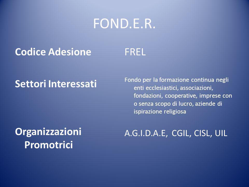 FOND.E.R. Codice Adesione FREL Settori Interessati