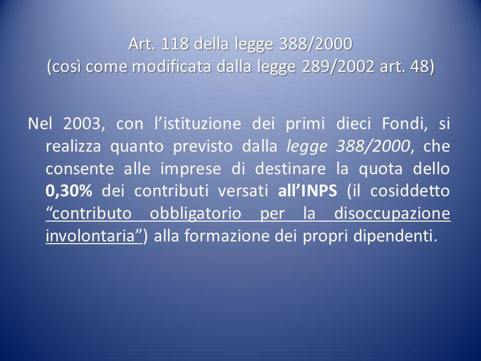 Art. 118 della legge 388/2000 (così come modificata dalla legge 289/2002 art. 48)