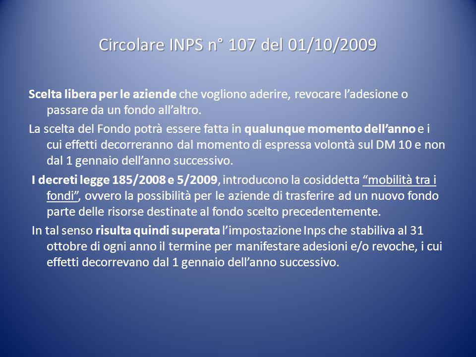 Circolare INPS n° 107 del 01/10/2009