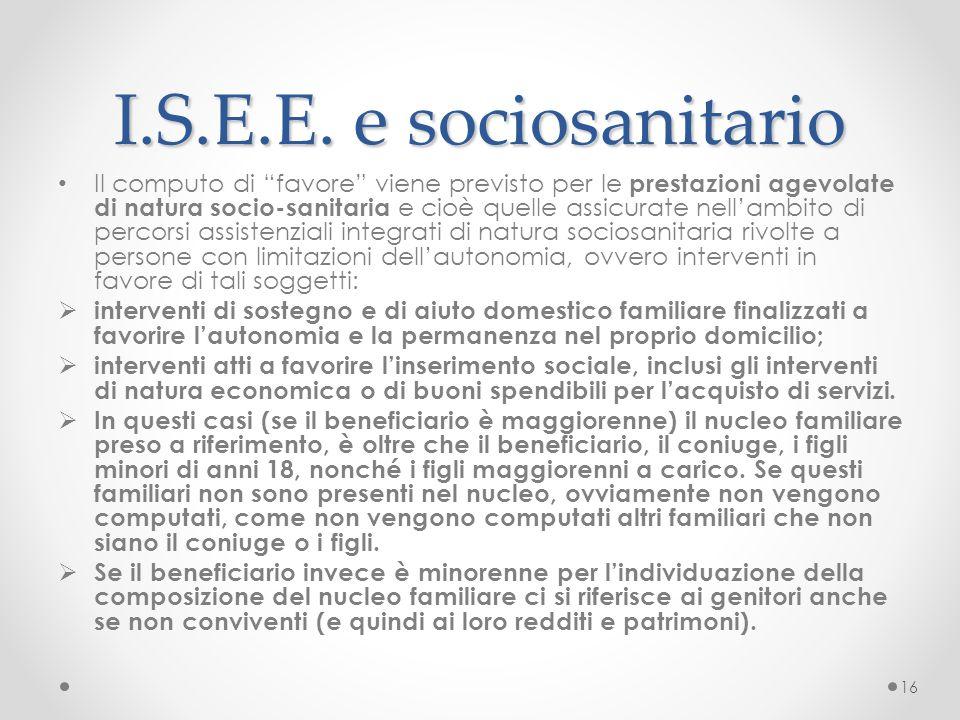 I.S.E.E. e sociosanitario
