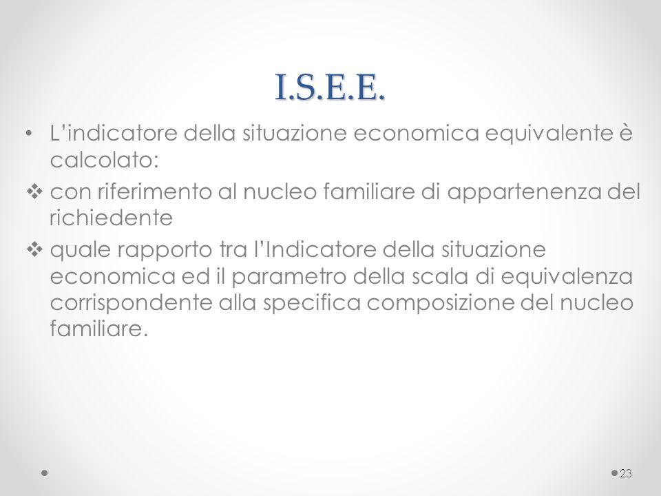 I.S.E.E. L'indicatore della situazione economica equivalente è calcolato: con riferimento al nucleo familiare di appartenenza del richiedente.