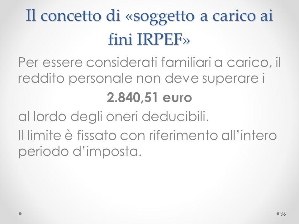 Il concetto di «soggetto a carico ai fini IRPEF»