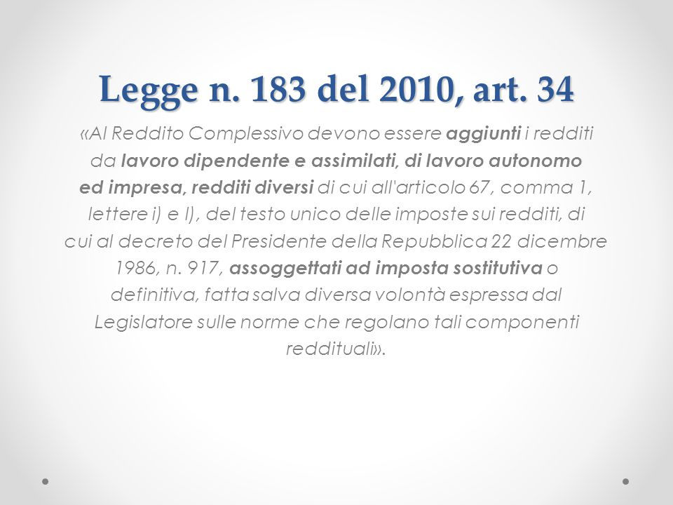 Legge n. 183 del 2010, art. 34