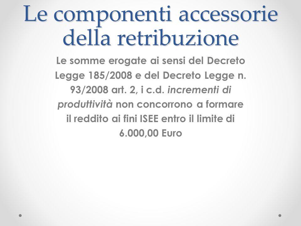 Le componenti accessorie della retribuzione