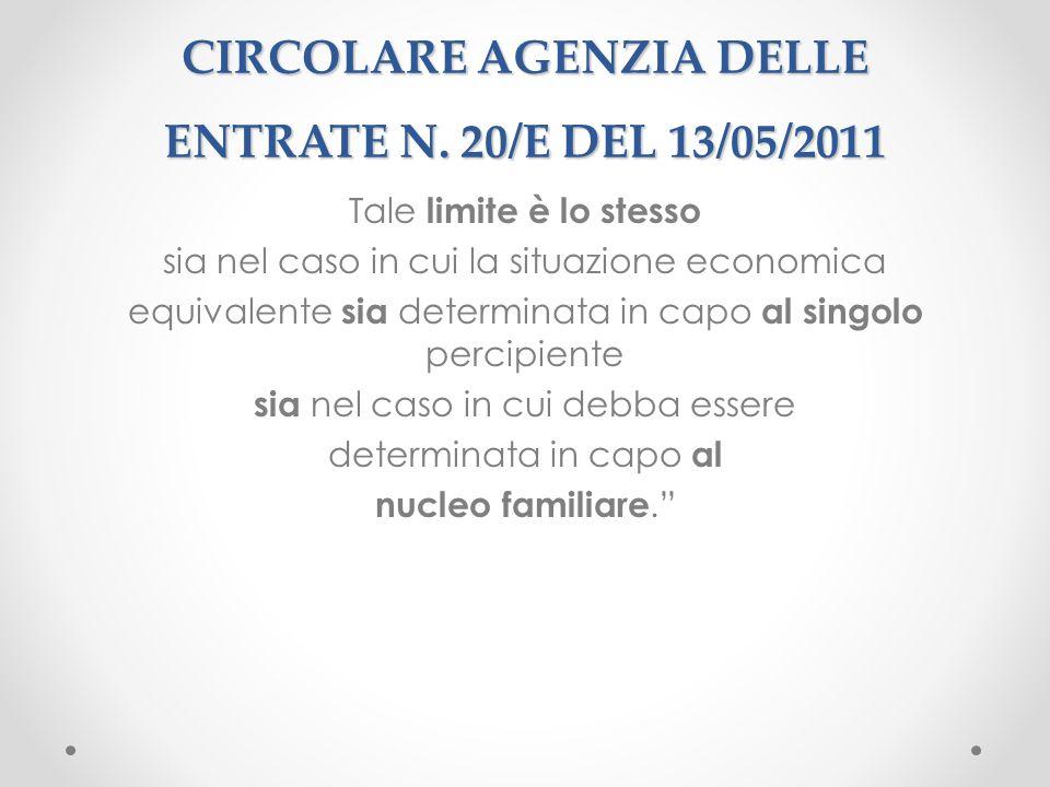 CIRCOLARE AGENZIA DELLE ENTRATE N. 20/E DEL 13/05/2011