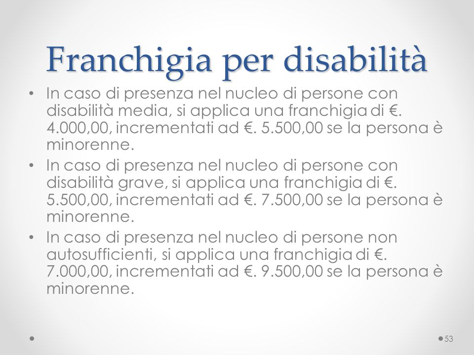 Franchigia per disabilità