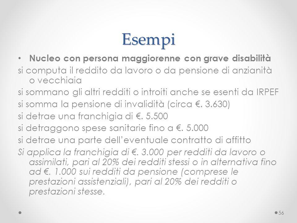 Esempi Nucleo con persona maggiorenne con grave disabilità
