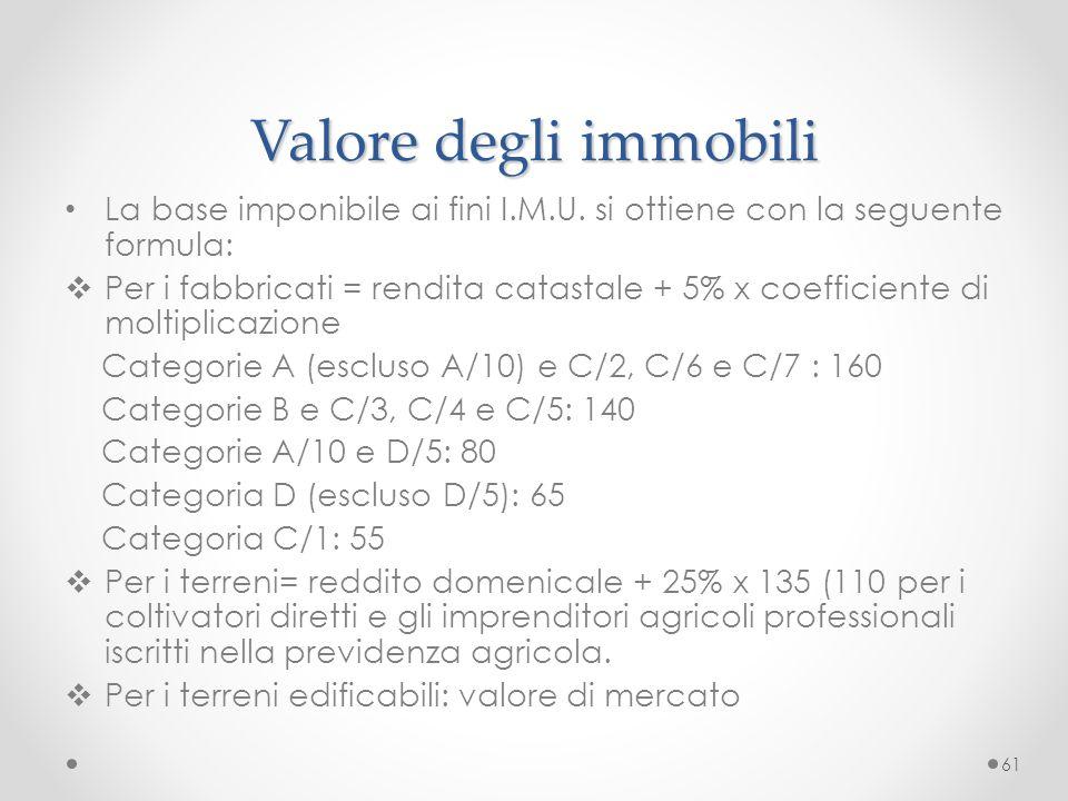 Valore degli immobili La base imponibile ai fini I.M.U. si ottiene con la seguente formula:
