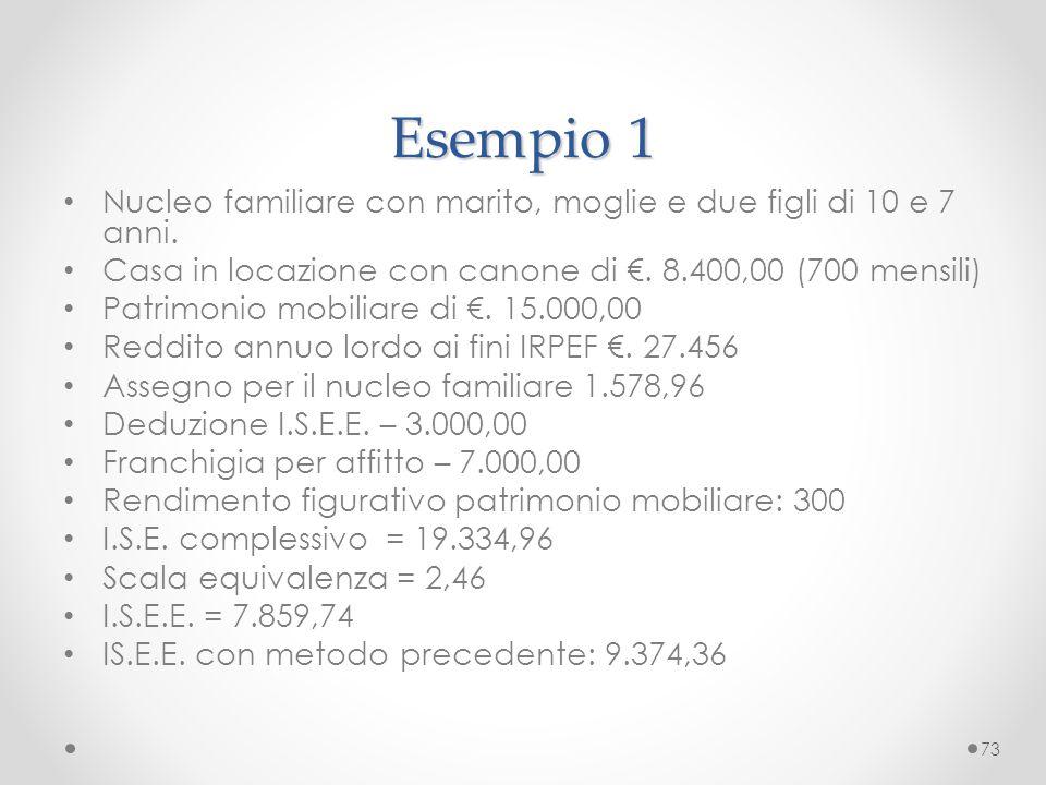 Esempio 1 Nucleo familiare con marito, moglie e due figli di 10 e 7 anni. Casa in locazione con canone di €. 8.400,00 (700 mensili)