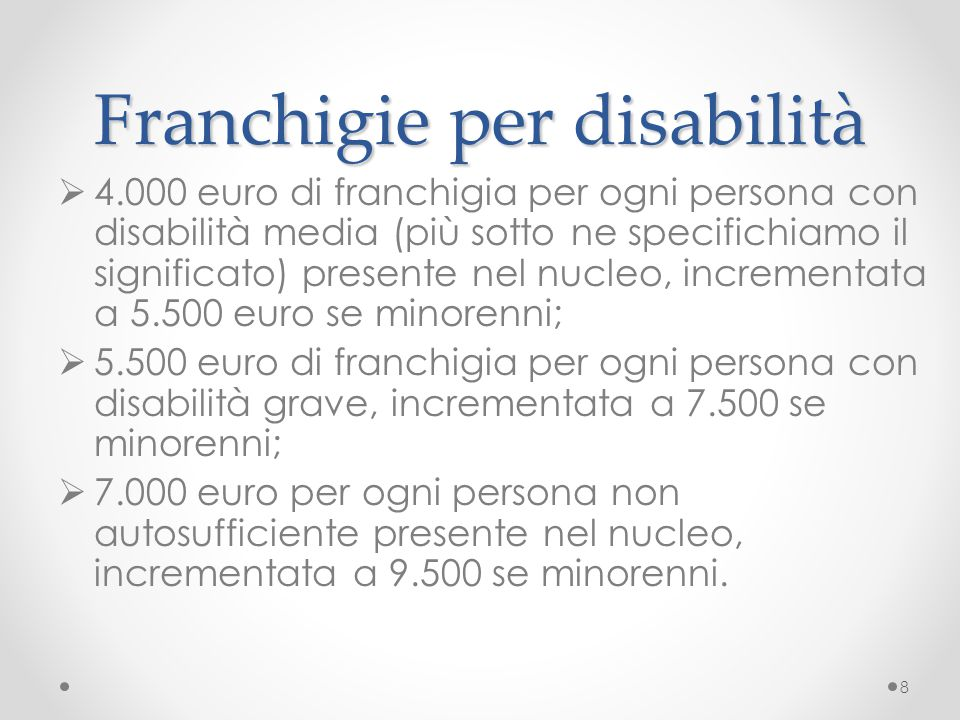 Franchigie per disabilità