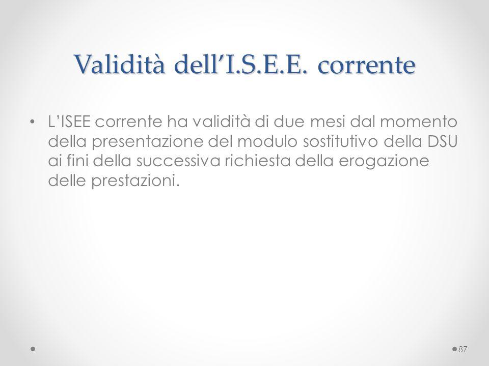 Validità dell'I.S.E.E. corrente