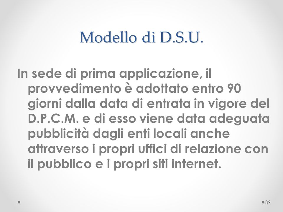 Modello di D.S.U.