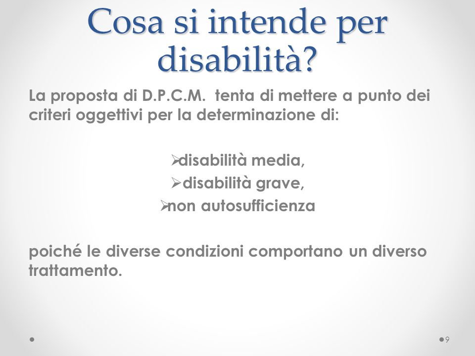 Cosa si intende per disabilità