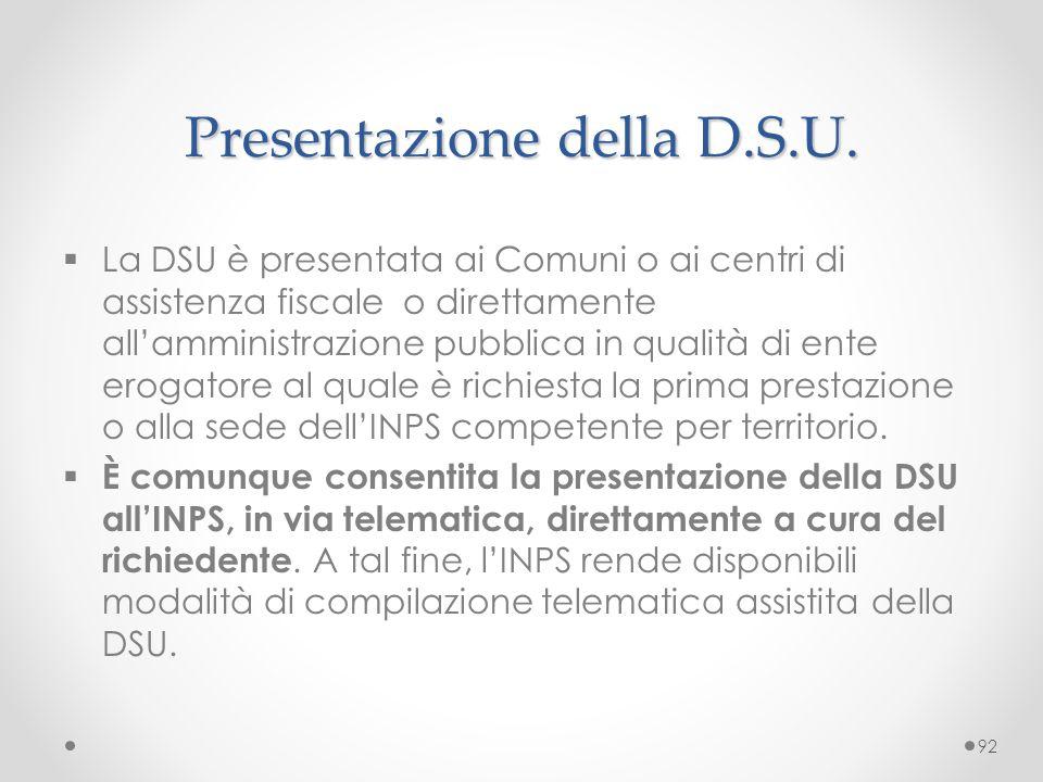Presentazione della D.S.U.