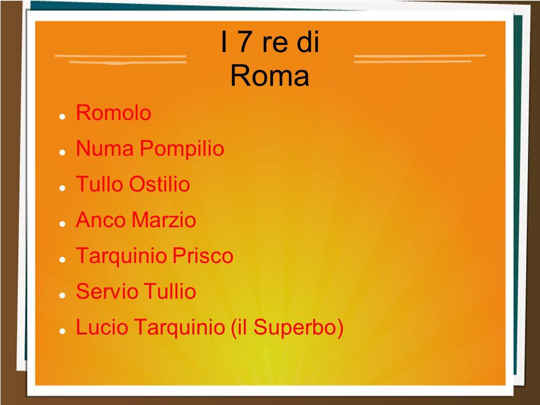 I 7 re di Roma Romolo Numa Pompilio Tullo Ostilio Anco Marzio