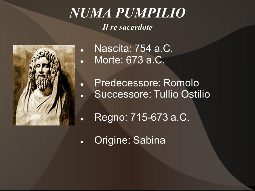 NUMA PUMPILIO Nascita: 754 a.C. Morte: 673 a.C. Predecessore: Romolo