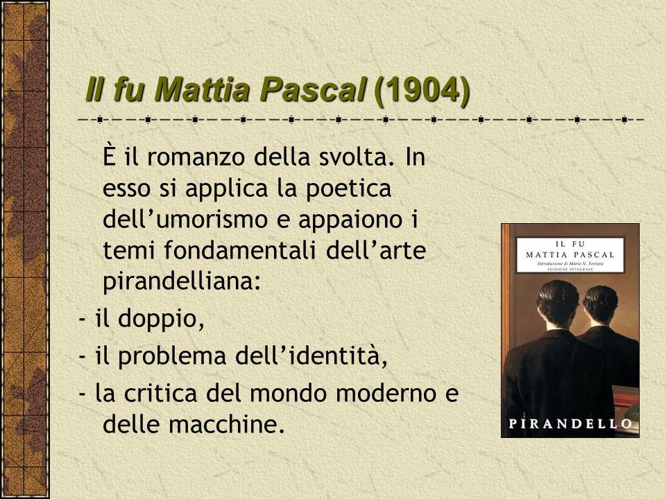 Il fu Mattia Pascal (1904) - il doppio, - il problema dell'identità,
