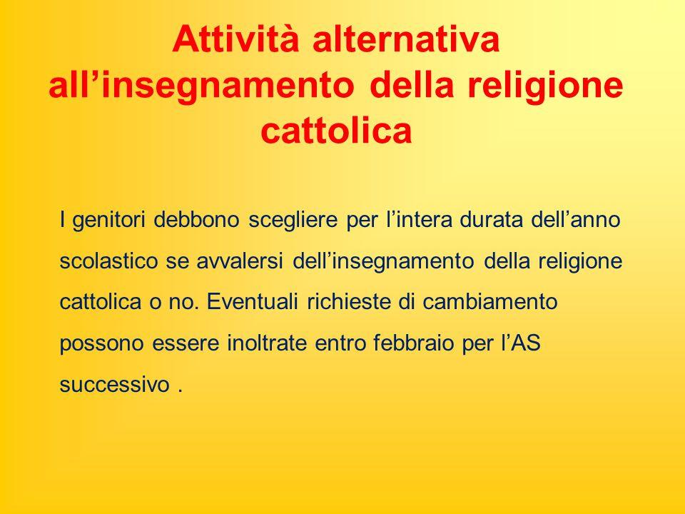 Attività alternativa all'insegnamento della religione cattolica