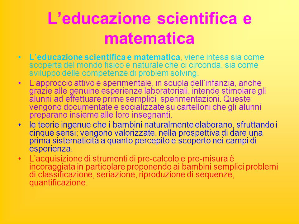 L'educazione scientifica e matematica