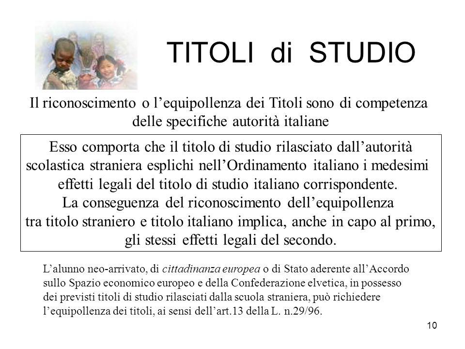 TITOLI di STUDIO Il riconoscimento o l'equipollenza dei Titoli sono di competenza. delle specifiche autorità italiane.