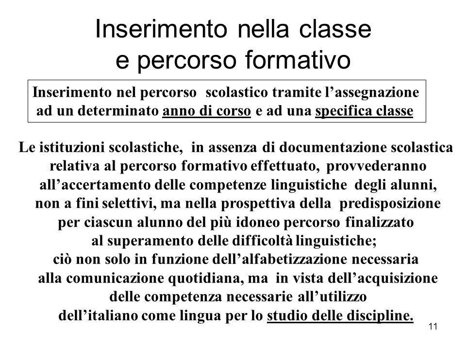 Inserimento nella classe e percorso formativo