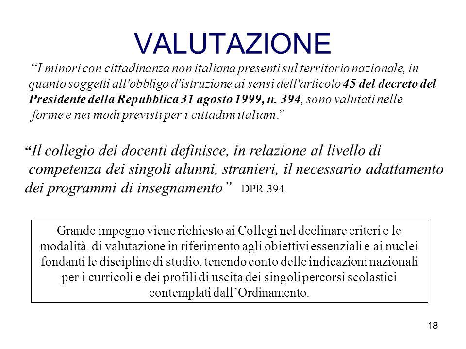 VALUTAZIONE I minori con cittadinanza non italiana presenti sul territorio nazionale, in.
