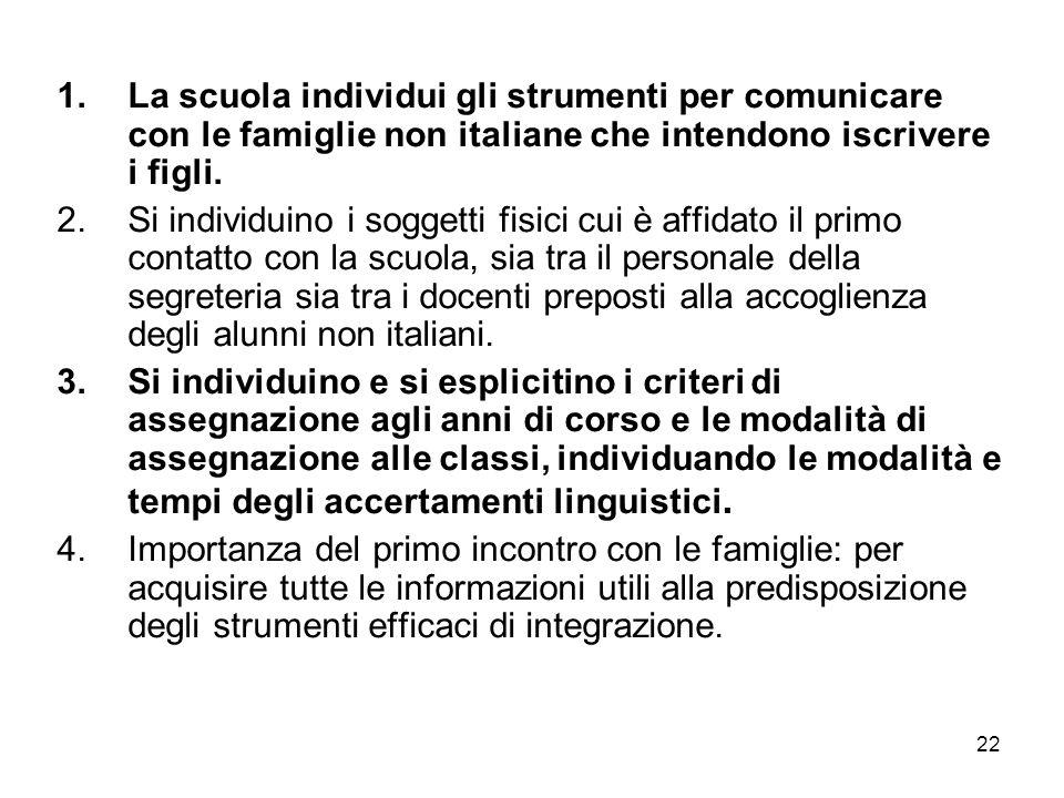La scuola individui gli strumenti per comunicare con le famiglie non italiane che intendono iscrivere i figli.