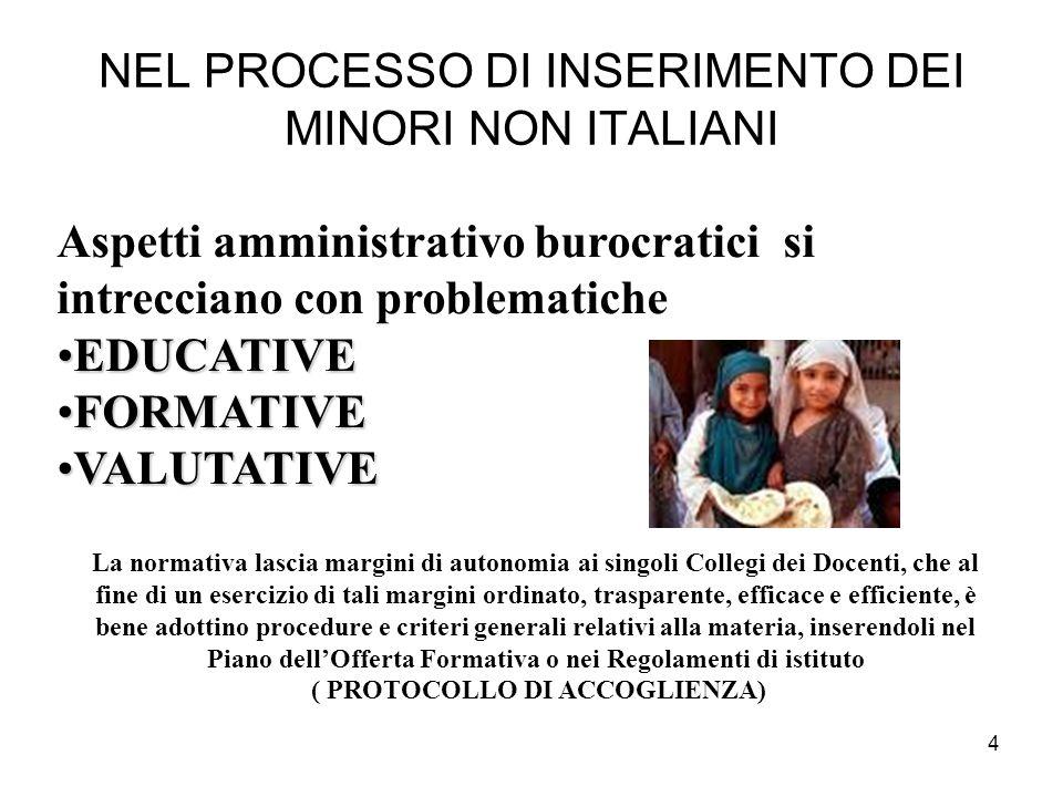 NEL PROCESSO DI INSERIMENTO DEI MINORI NON ITALIANI
