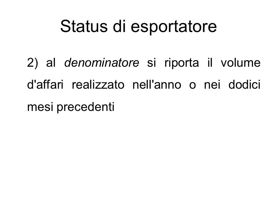 Status di esportatore 2) al denominatore si riporta il volume d affari realizzato nell anno o nei dodici mesi precedenti.