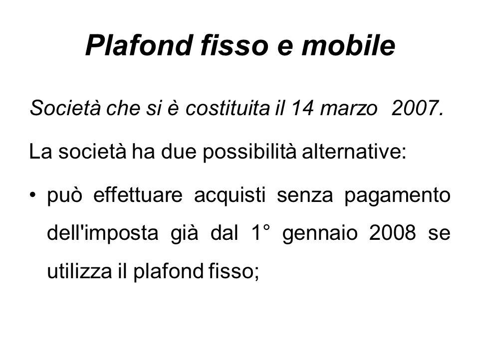 Plafond fisso e mobile Società che si è costituita il 14 marzo 2007.